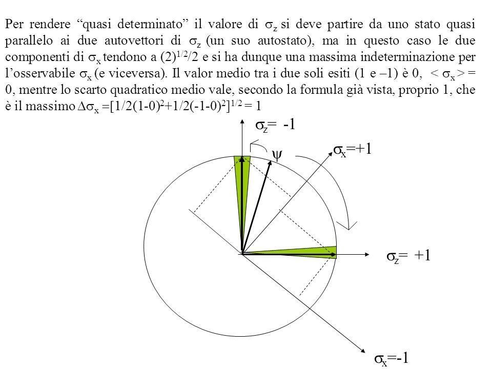 Per rendere quasi determinato il valore di sz si deve partire da uno stato quasi parallelo ai due autovettori di sz (un suo autostato), ma in questo caso le due componenti di sx tendono a (2)1/2/2 e si ha dunque una massima indeterminazione per l'osservabile sx (e viceversa). Il valor medio tra i due soli esiti (1 e –1) è 0, < sx > = 0, mentre lo scarto quadratico medio vale, secondo la formula già vista, proprio 1, che è il massimo Dsx =[1/2(1-0)2+1/2(-1-0)2]1/2 = 1